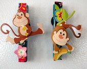 Monkey whimsical Clothespin Hand Painted Magnet, Message Holder