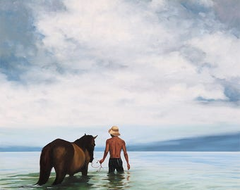 "Original 36""x36"" oil painting by Daina Scarola - Cooling Off (horse, ocean, Indonesia)"