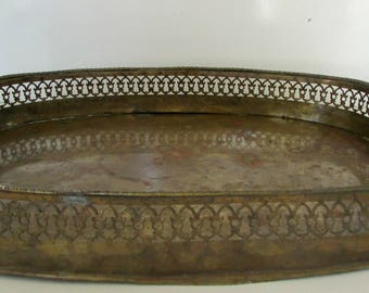 Antique Copper Tray Hand Wrought Metal Tray Large Serving Tray India Original Patina Vintage