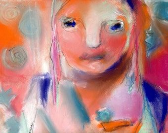 Abstract Face, Orange and Pink, Female Portrait, Pastel Original, 11 x 9, Free Shipping, Sandpaper Pastel, Wall Art, Decorative Art