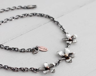 Plumeria Link Necklace, Sterling silver Link Frangipani Necklace, Statement necklace by Hapa Girls, Hand fabricated flowers