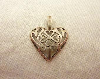Vintage Sterling Silver Shamrock Heart Pendant