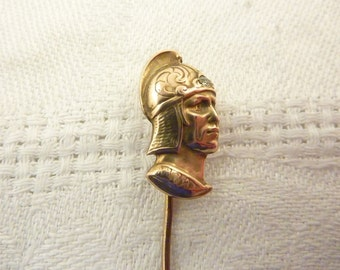 Antique Victorian 14K Gold Greek Warrior Bust with Diamond Stick Pin