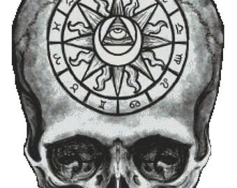 Zodiac Cross Stitch Kit, Shayne of the Dead, Asto Skull, Astrology Signs, Skull Cross Stitch, Modern Cross Stitch, Astrology Stitching,