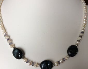 Necklace — Blue Tiger's Eye, Freshwater Pearls and Iolite