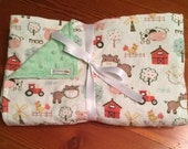 Flannel and minky blanket/Down on the farm