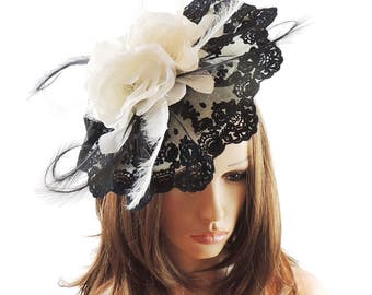 Mimosa Black and Cream Fascinator Hat for Weddings, Occasions and Parties on a Headband