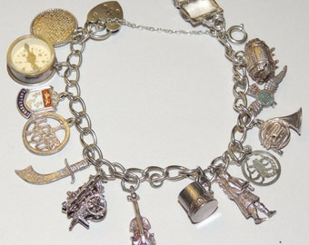 Vtg Charm Bracelet Loaded with Charms some open