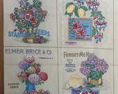Floral Seed Pack Panels by Concord Fabric Joan Kessler Crafted in USA Forget Me Not Fushcia DM Ferry Co Seeds Poppy