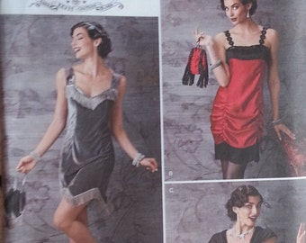 Flapper Style Costume Pattern Simplicity 1247 Misses Fringed Dress,Top,Skirt and Bag Pattern Misses Size 14-22  Art Deco