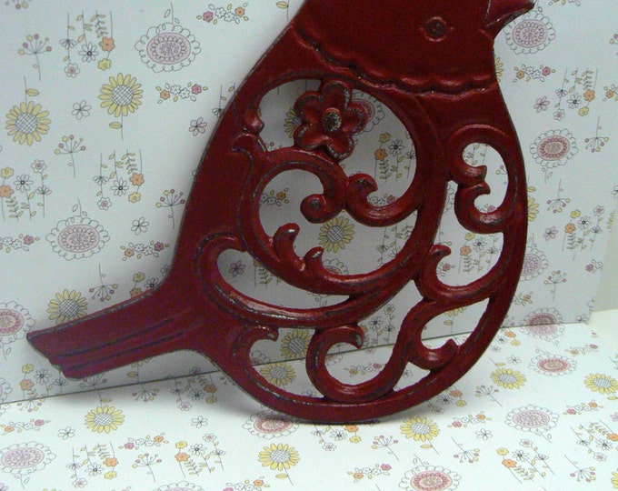 Cast Iron Bird Floral Trivet Red Shabby Chic Kitchen Decor