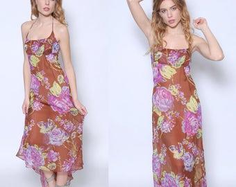 Vintage 90s SHEER Floral Maxi Dress Printed Sun Dress Asymmetrical Floral SILK Slip Dress