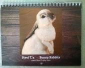 Stevi Ts 2017 Bunny Rabbit Hanging Wall Calendar Planner featuring photos of OOAK Needle Felt Sculptures each month Ltd Edition collectable