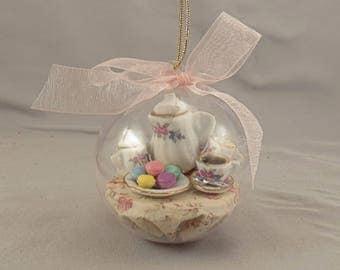 Miniature Tea Party Christmas Ornament with Porcelain Tea Set and Macaroons