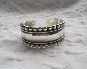 Sterling Silver Cuff Bracelet Taxco Mexico 925 Thick and Substantial