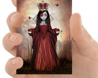 Gothic ACEO Card - Gothic Fairytale Art - Gothic Art - ACEO Print - ATC - Artist Trading Card - Queen Of Hearts