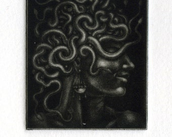 "Mezzotint - ""Head of Medusa, Still Attached"" (proof print) - miniature original print, medusa art, goddes, mythology. By Nancy Farmer"
