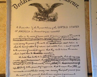 1890 Declaration of Independence Antique Illustration
