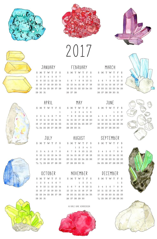 2017 Birthstone Calendar