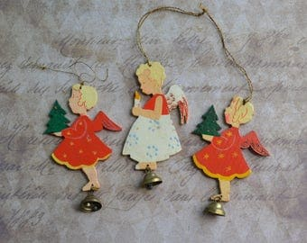 3 Vintage Germany Erzgebirge Wooden Flat Angel Christmas Ornaments with Brass Bells