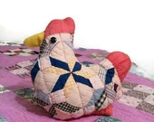 Primitive Farmhouse Hen, Chicken Pillow, Tuck, Rustic Country Home Decor, Upcycled Vintage Quilt Blocks, Handmade
