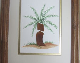 Sea Glass, Beach Glass , Hand Painted Palm Tree Picture in an Oak Wood Frame