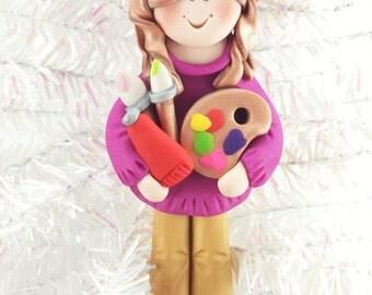 Art Teacher Gift - Teacher Appreciation - Art Teacher Christmas Ornament - School Ornament - Polymer Clay Ornament - Artist Ornament - 166