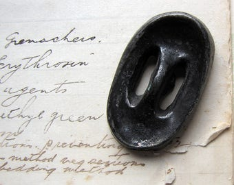 large antique button - rare handmade oval metal button - shankback and sew through - unique Tim Burton style