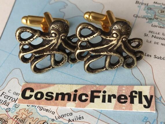 Men's Cufflinks Antiqued Gold Brass Octopus Cufflinks Vintage Inspired Style Popular Gothic Victorian Nautical Steampunk Men's Accessories