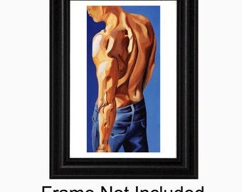 Bedroom Art, Male Figure, 11 x 14 Art Print, Retro Man, Sensual Bedroom Artwork, Male Poster Print, gay art, Naked Torso, Man In Blue Jeans
