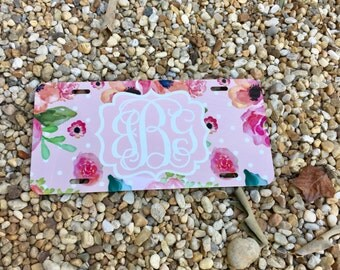 NEW! Floral & Polka dots Monogram License Plate Frame - Monogram Car Tag Front License Plate Personalized Plate