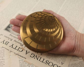 40s gold compact folding make up purse mirror purse vintage geometric art deco design