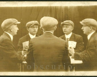 Five-fold Portrait - Mirror Trick  - Young Man with Cards  - 1910s Multigraph RPPC