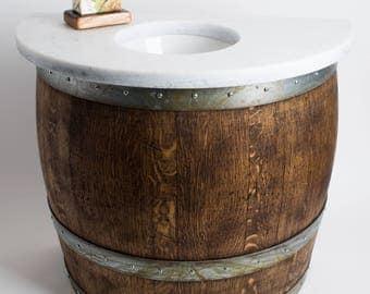 Wall Mount Wine Barrel Vanity with Granite Top