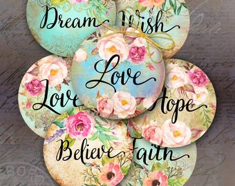 Printable Download LOVE DREAM HOPE 2 inch size Circle Images Digital Collage Sheets for pendants, bezels, cabochon settings, magnets ArtCult