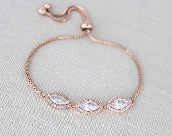 Rose Gold Bridal bracelet, Rose gold Wedding bracelet, Wedding jewelry, Swarovski bracelet, Bridesmaid bracelet, Bridal jewelry SCARLETT