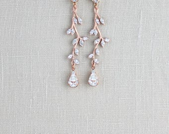 Rose gold earrings, Crystal Bridal earrings, Bridal jewelry, Long Wedding earrings, Swarovski earrings, Leaf earrings, Bridesmaid earrings