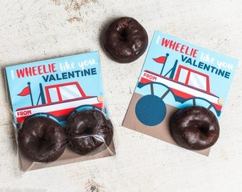 INSTANT DOWNLOAD printable monster truck donuts valentines card inserts for chocolate Hostess donettes mini donut I wheelie like you