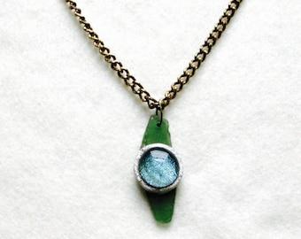 Green seaglass glass bead pendant