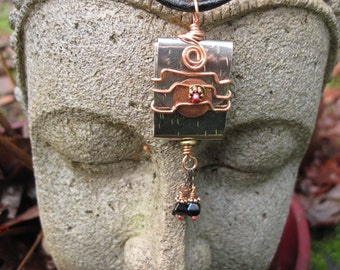 "Mixed metal zen prayer word pendant ""serene"""