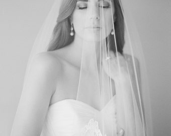 MARGUERITE | French lace chapel veil, ivory lace wedding veil
