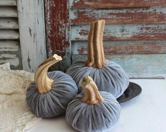 Silver Silk Velvet Pumpkins Handmade by avintageobsession