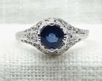 Art Deco Style 14k Gold Blue Sapphire and Diamond Engagement Ring .74 Carats