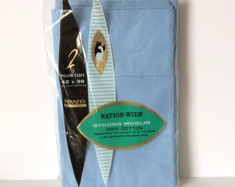 2 Solid Blue Pillowcases All Cotton Penney's NIP Vintage