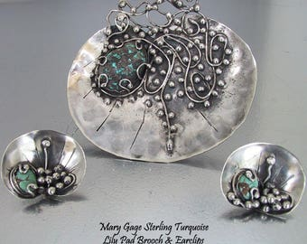 Mary Gage SS Turquoise Lily Pad Brooch Earclips, American Arts & Crafts Sterling Turquoise Lily Pad Pin Earrings