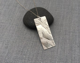 Branches Necklace - Silver Pendant - Rectangle Pendant - OOAK - Hammered Necklace - Bar Necklace - Modern Silver Necklace - Textured