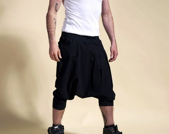 man harem pants PSYCHOSE short Sarouel black ninja cool