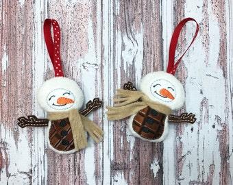 Snowman Ornament / Smores Snowman / Plush Ornament / Christmas Ornament / Snowman Christmas Ornament / Stocking Stuffer / Christmas Gift
