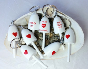 Love Lobster Buoy key chain, Wedding Favor, Bridal shower gift, Will you Marry Me