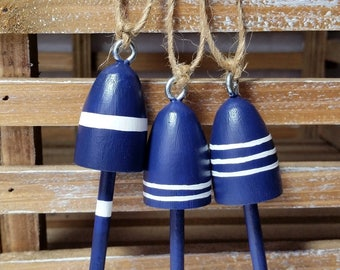 """Miniature Maine Lobster Buoys, Wedding Favors, 3"""" tall, set of 3, navy with white stripes"""